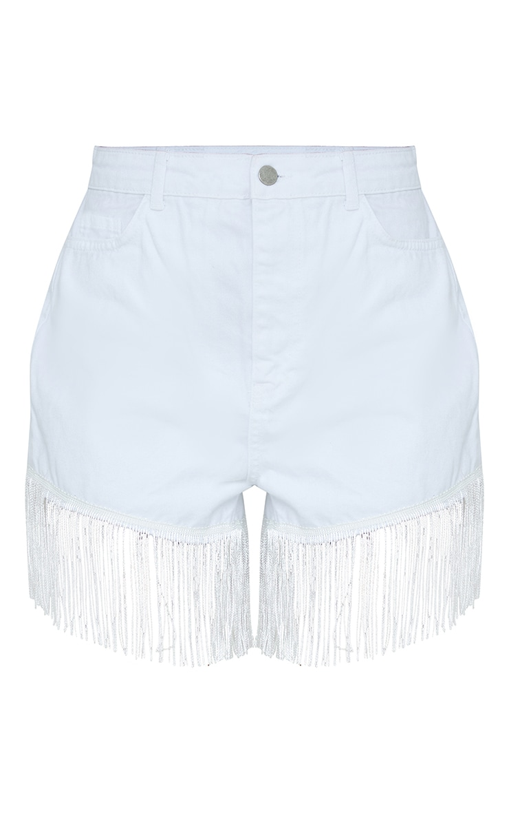 White Tassel Hem Denim Shorts 6