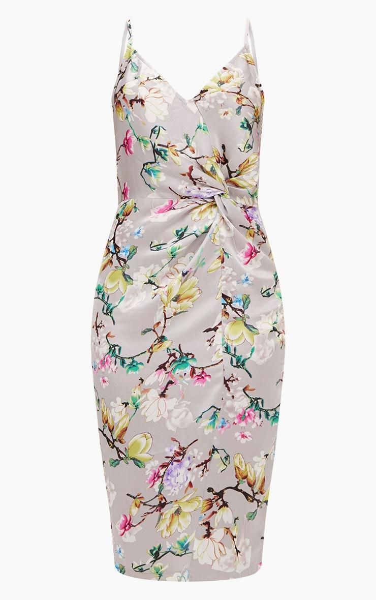 Grey Floral Strappy Satin Twist Detail Midi Dress 3