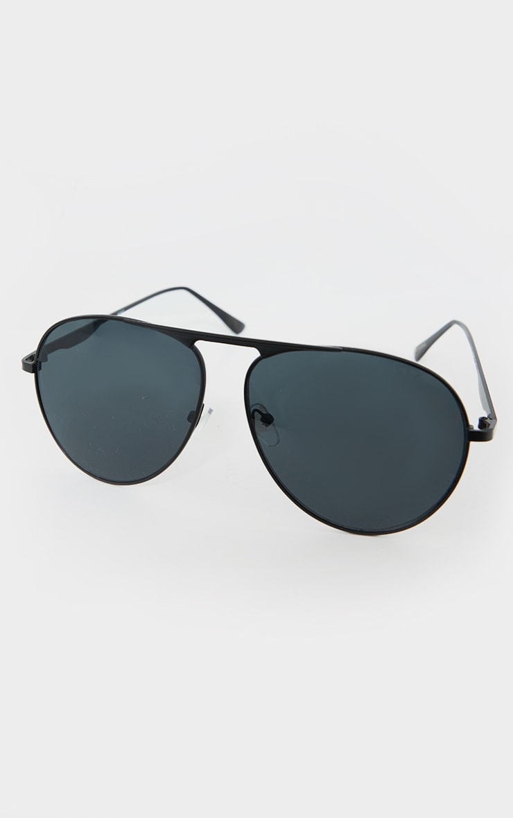 Black Basic Aviator Sunglasses 2