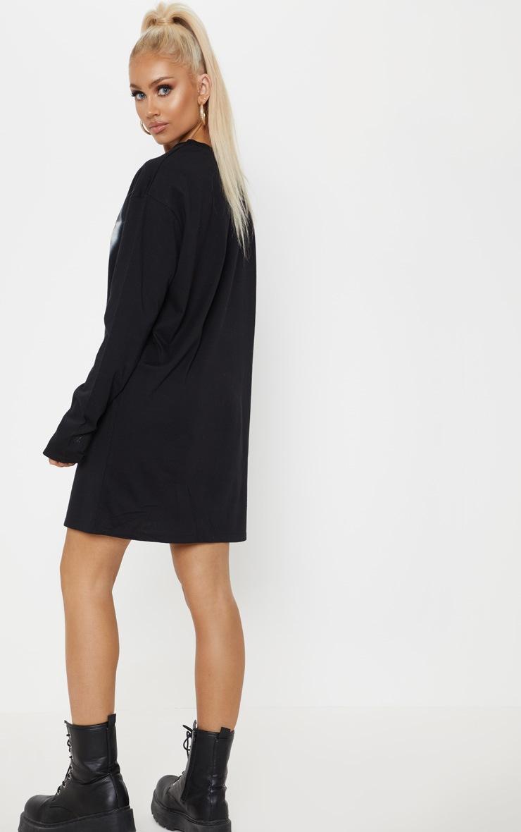 Black Never Do Slogan Long Sleeve T Shirt Dress 2