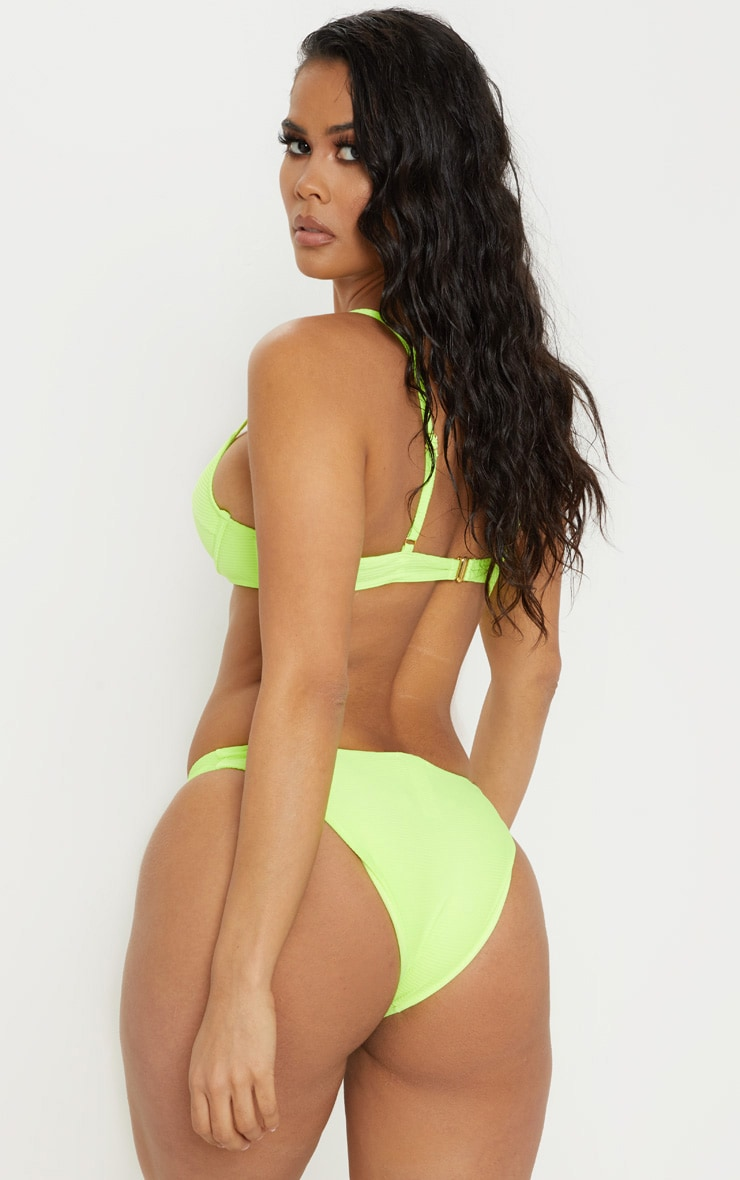Neon Yellow Underwired Ribbed Balconette Bikini Top 2