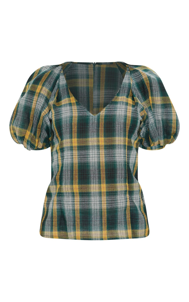 Green Check Puff Short Sleeve Top 3
