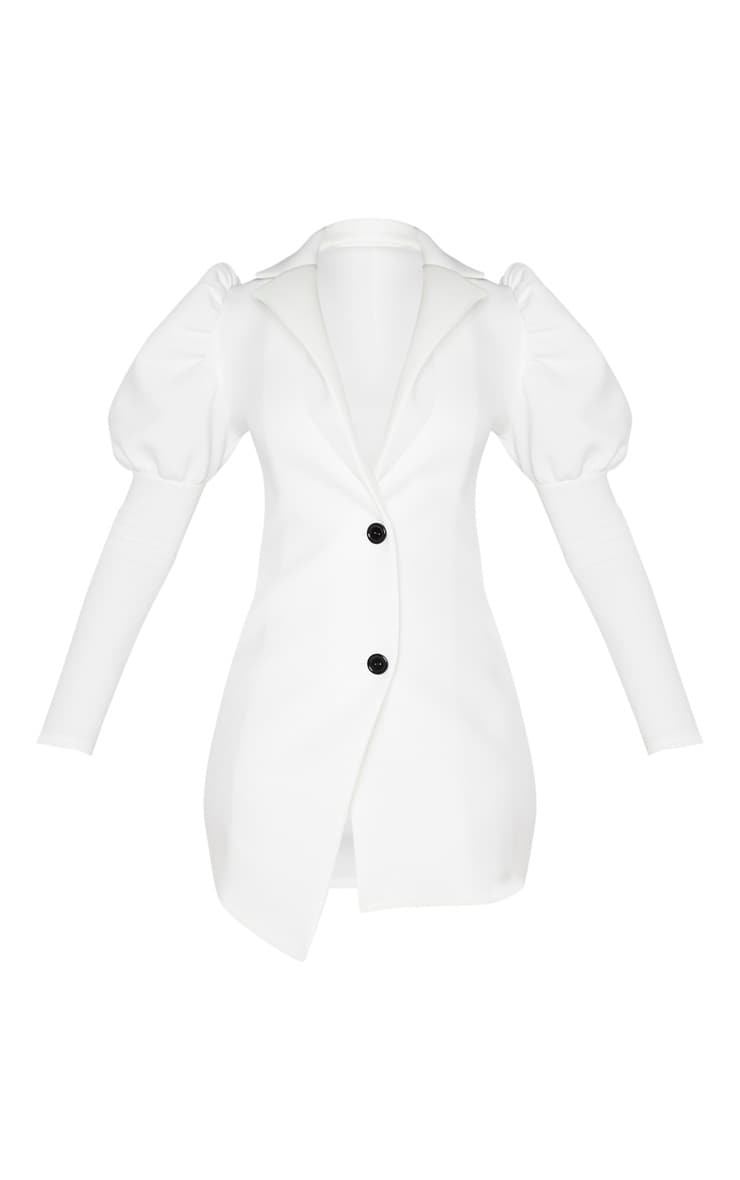 White Scuba Puff Sleeve Blazer Dress 3