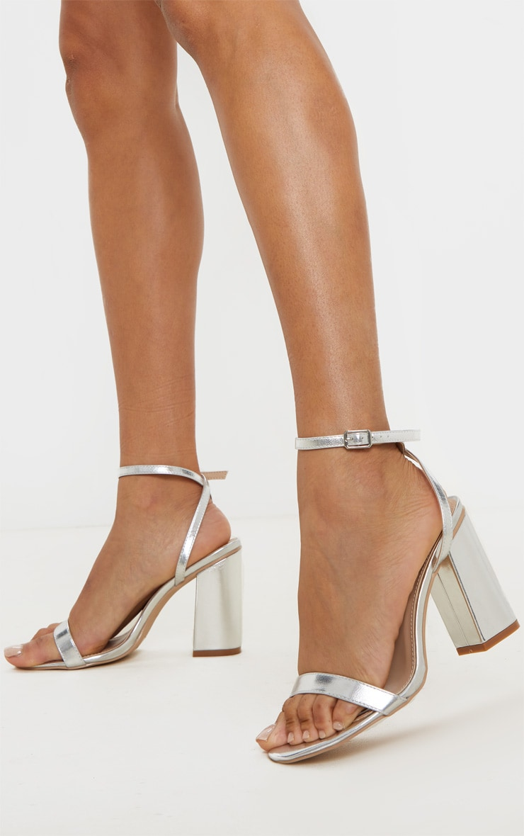 Silver Wide Fit Block Heel Strappy Sandal 1