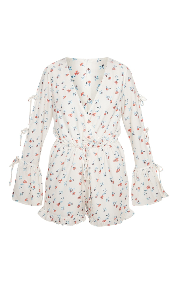 Cream Floral Split Sleeve Romper 3