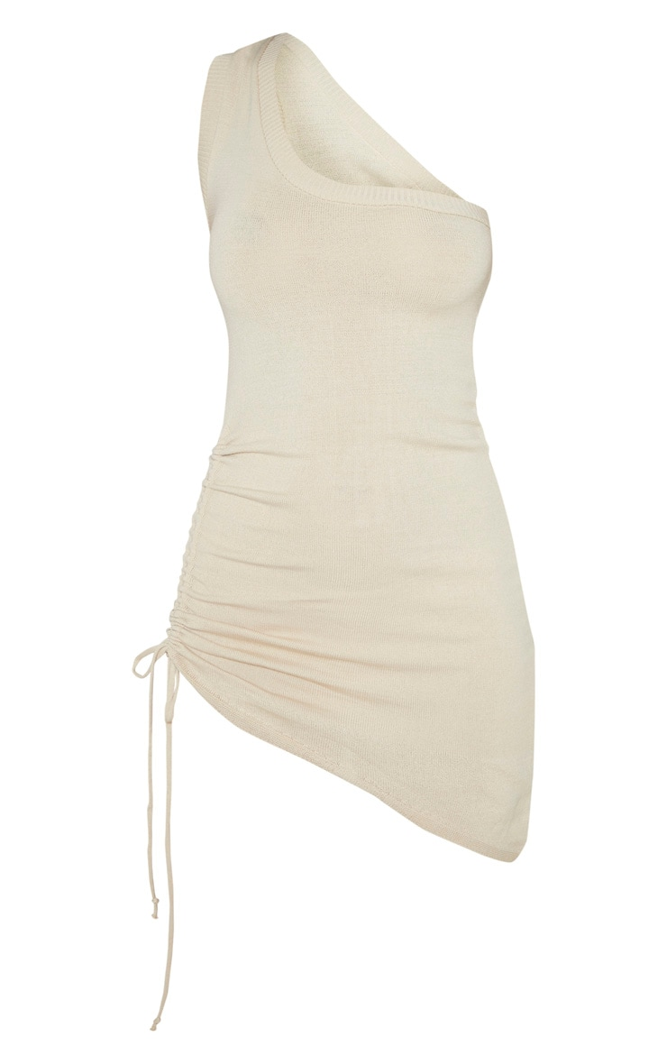Stone Ruched Asymmetric Knitted Dress 3