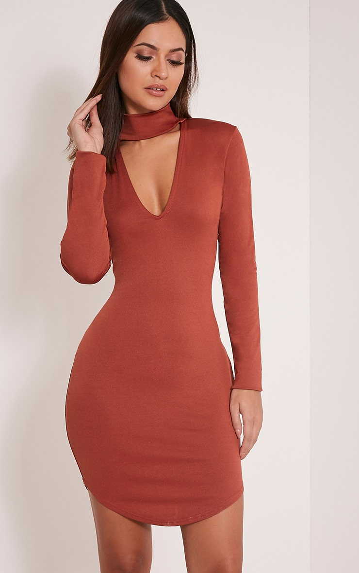 Arianna Tobacco Crepe Choker Detail Bodycon Dress 1