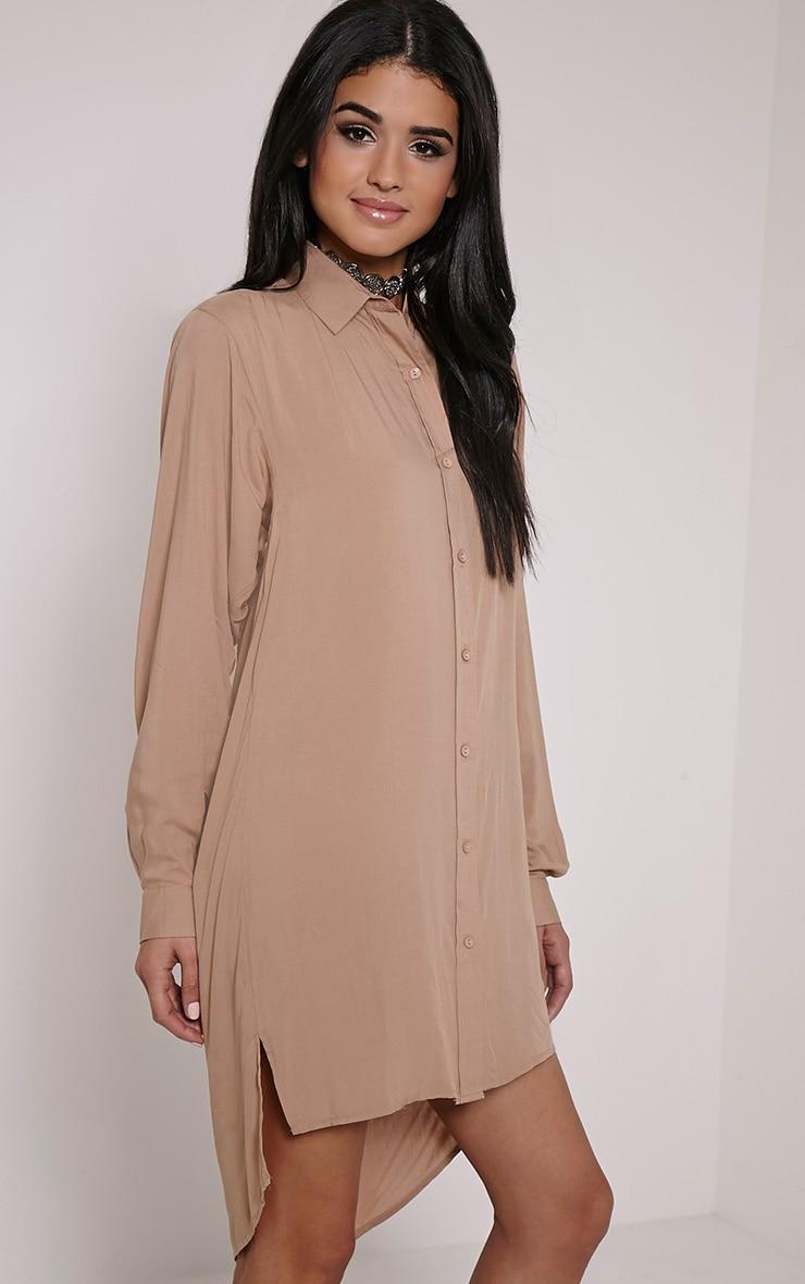 Agape Taupe Shirt Dress 4