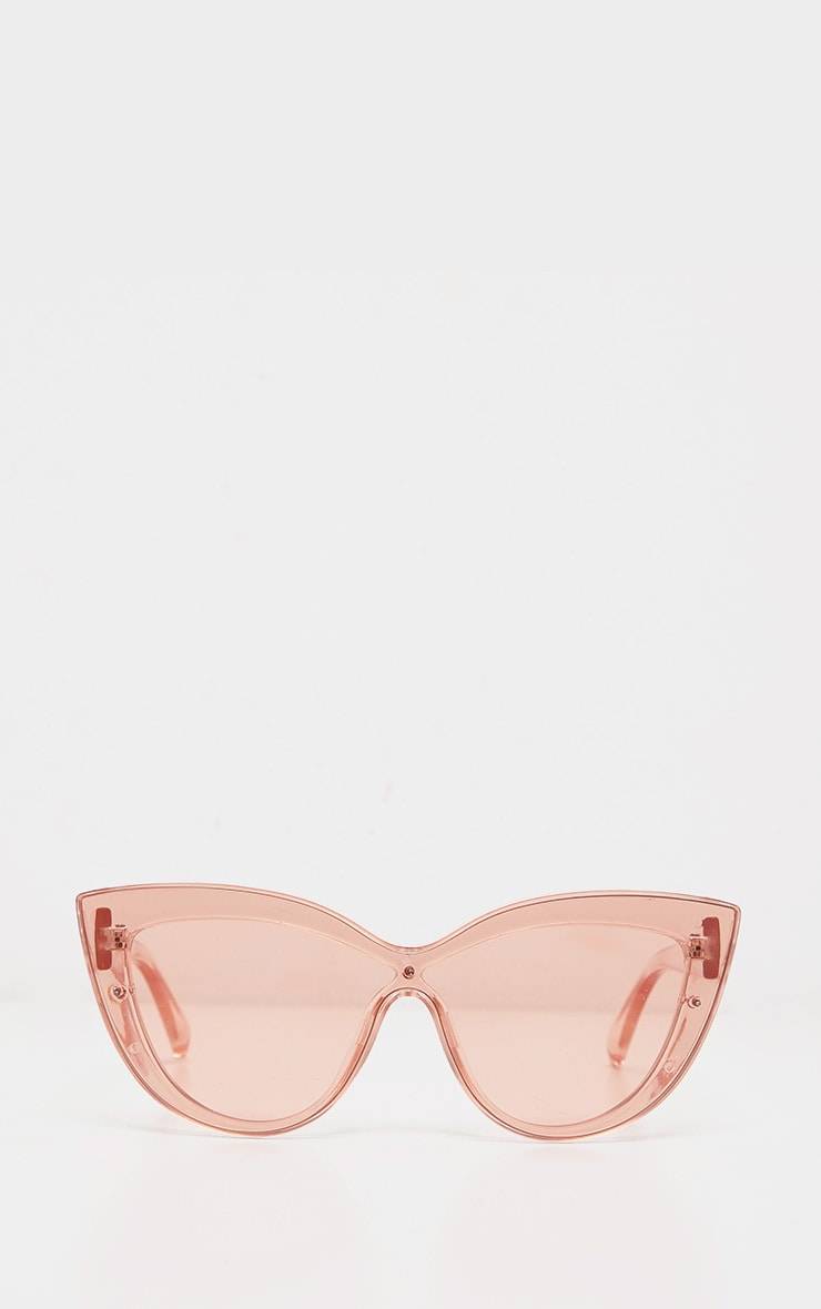 Peach Transparent Oversized Cat Eye Sunglasses 4