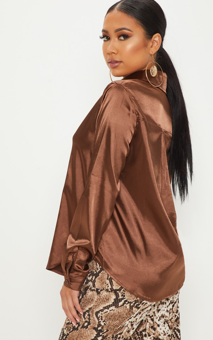 Petite Chocolate Brown Satin Shirt 2