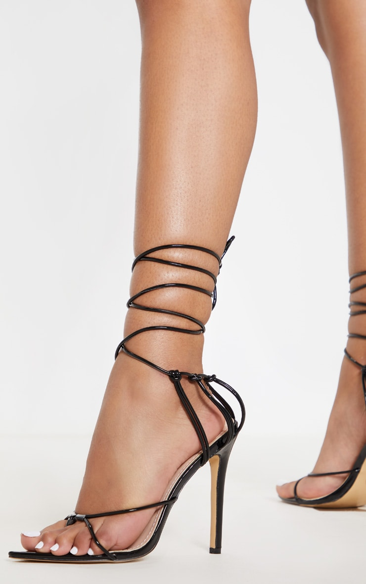 Black Caged Heel Point Toe Sandal 2