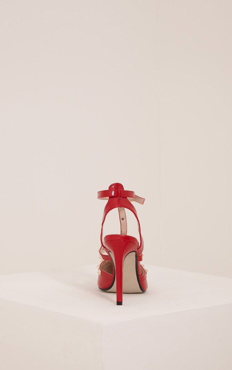 Eloisa Red Patent Pointed Studded Heels 4