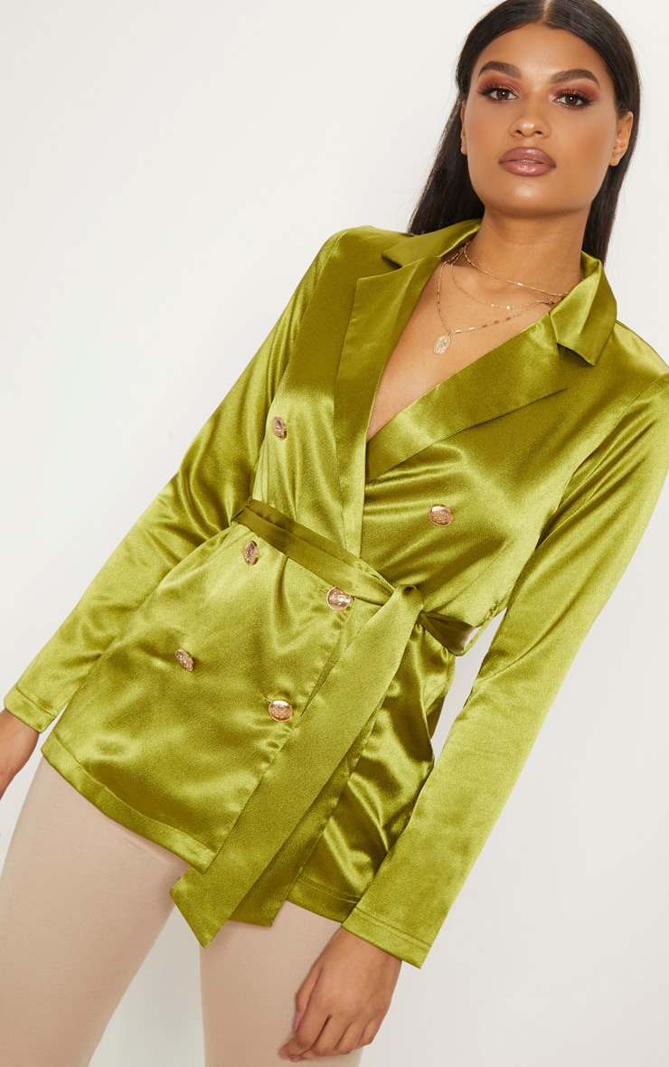 Olive Satin Double Breasted Military Blazer