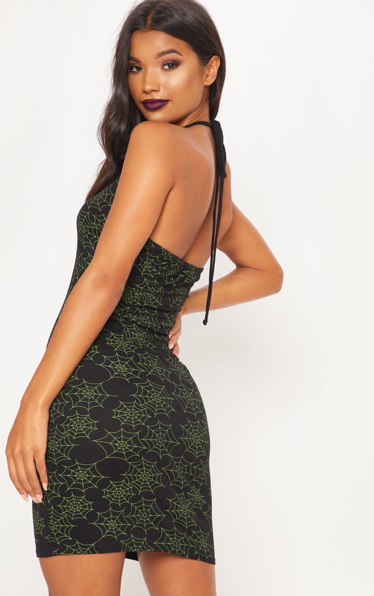 Black Cobweb Halterneck Bodycon Dress 2