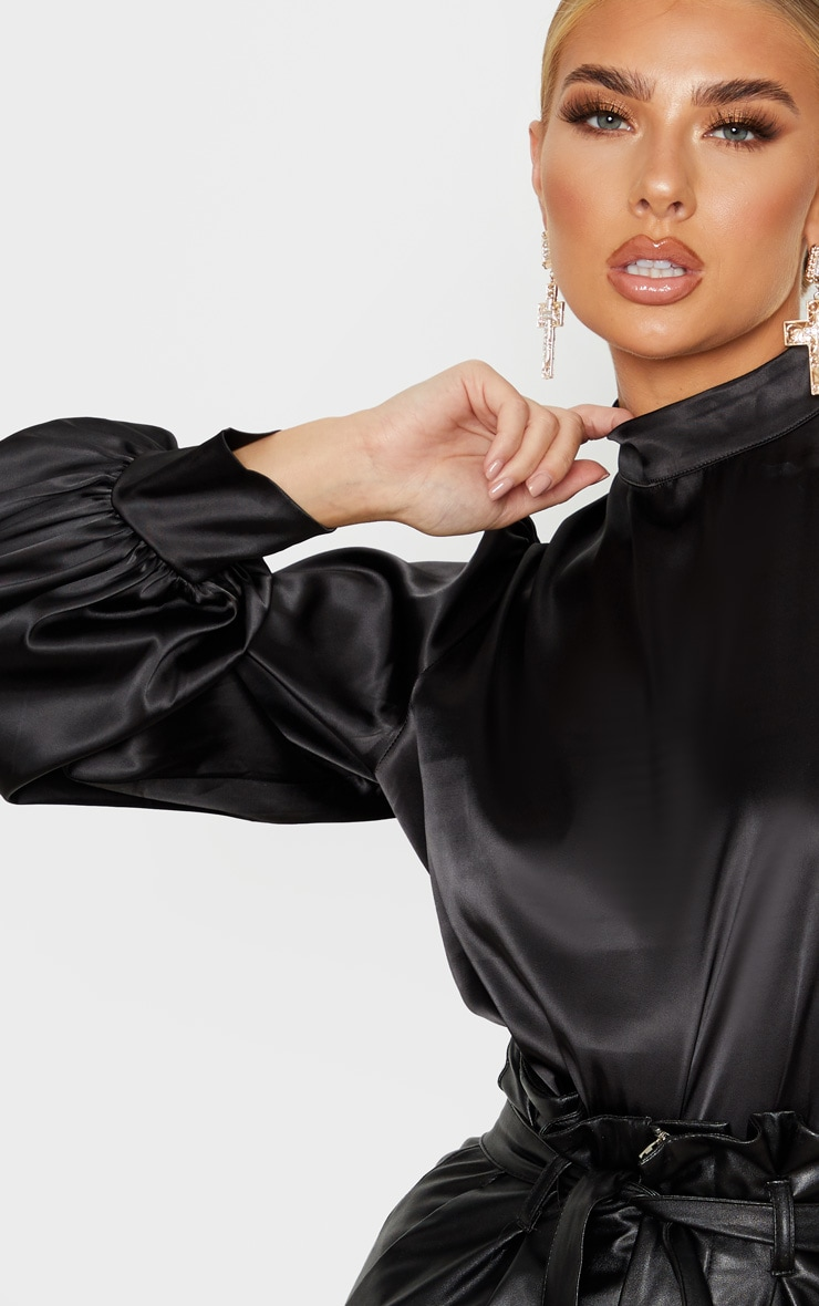 Black Satin High Neck Puff Sleeve Top 5