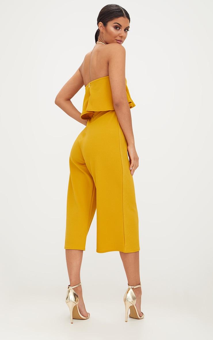 Mustard Bardot Double Layer Culotte Jumpsuit 2