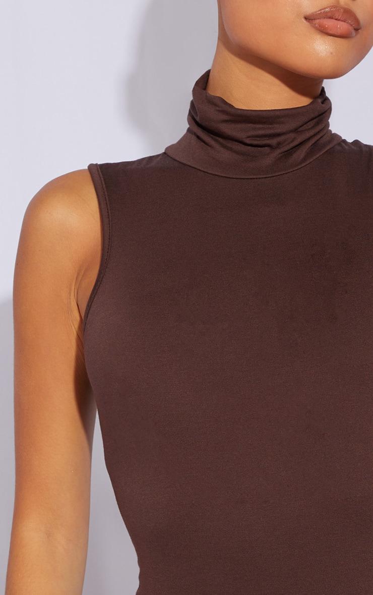 Petite Chocolate Basic Roll Neck Sleeveless Bodysuit 4