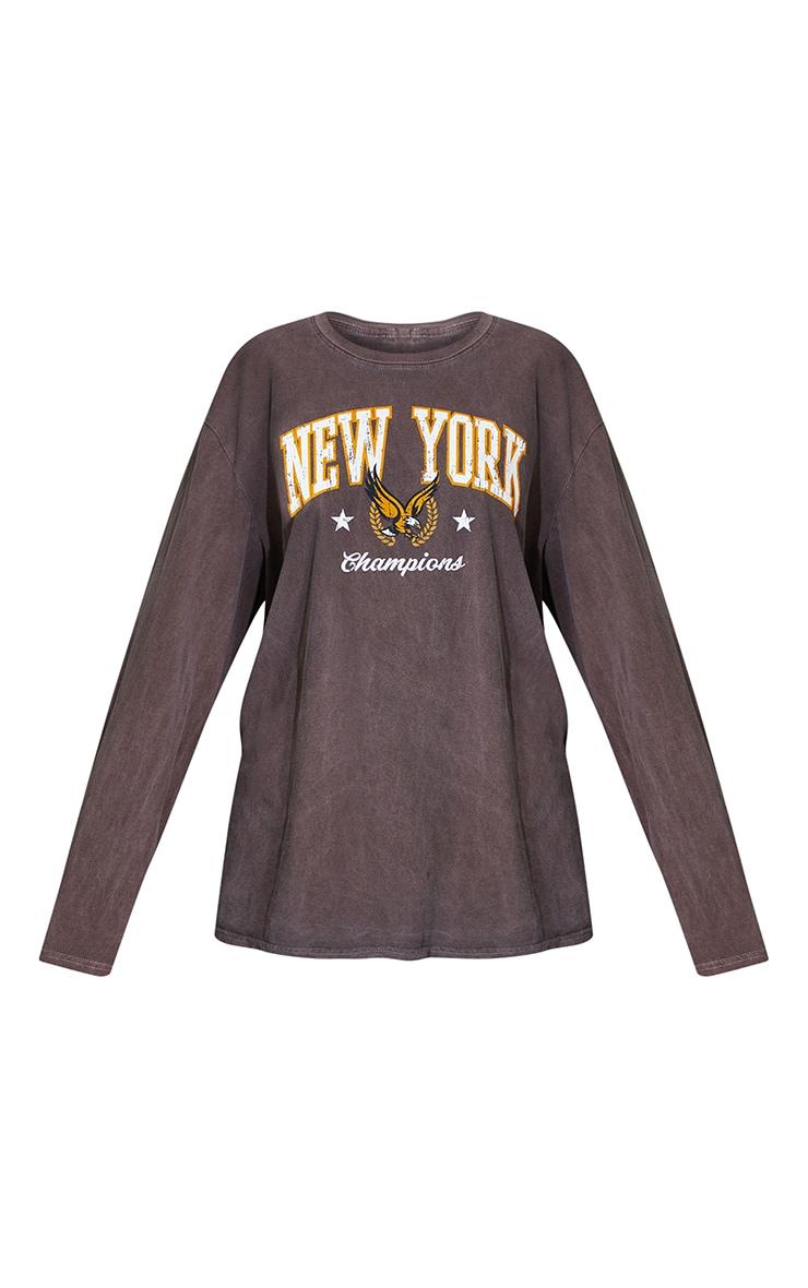 Chocolate New York Champion Washed Long Sleeve T Shirt 5