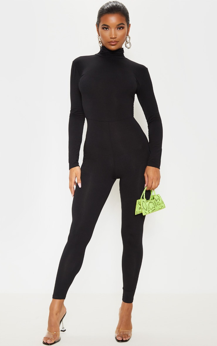 Basic Black Cotton Blend Roll Neck Long Sleeve Jumpsuit 1