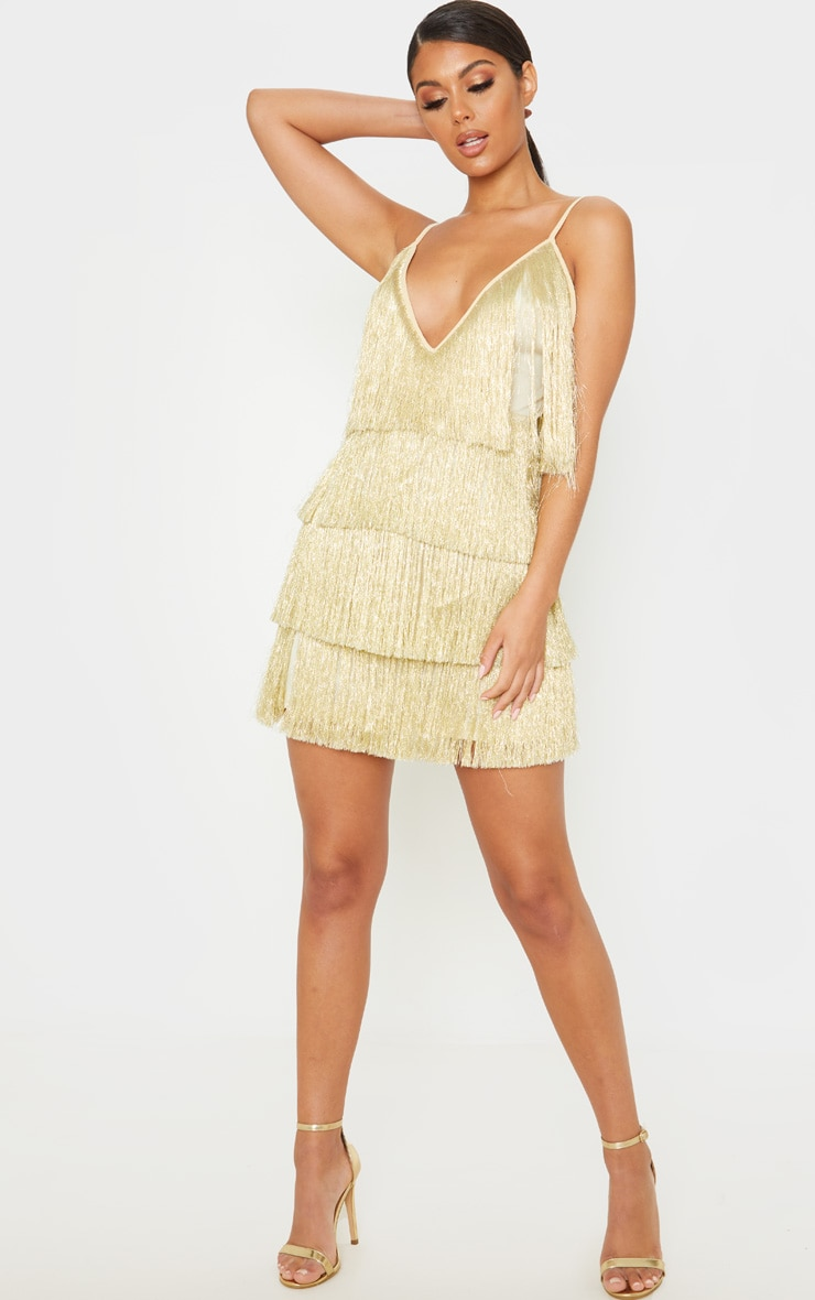 Gold Tassel Fringed Strappy Bodycon Dress 4