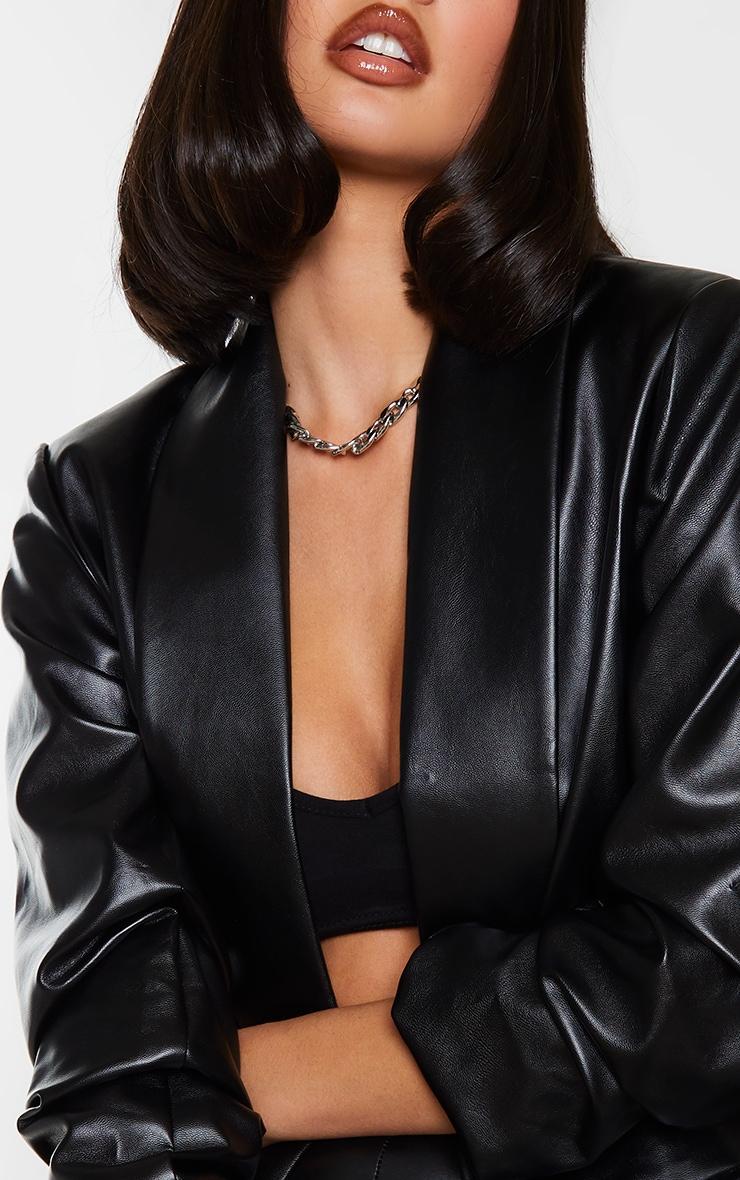 Black PU Lapel Long Line Ruched Sleeve Blazer 4