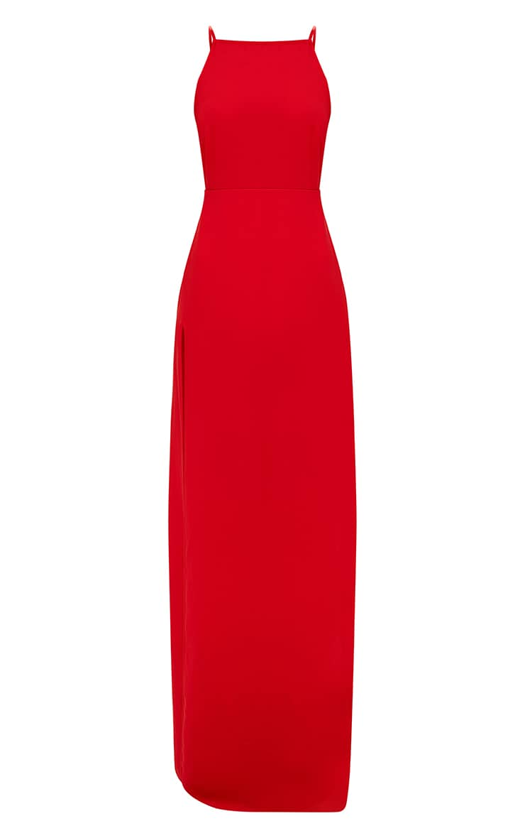 Red Strappy Back Detail Chiffon Maxi Dress 4