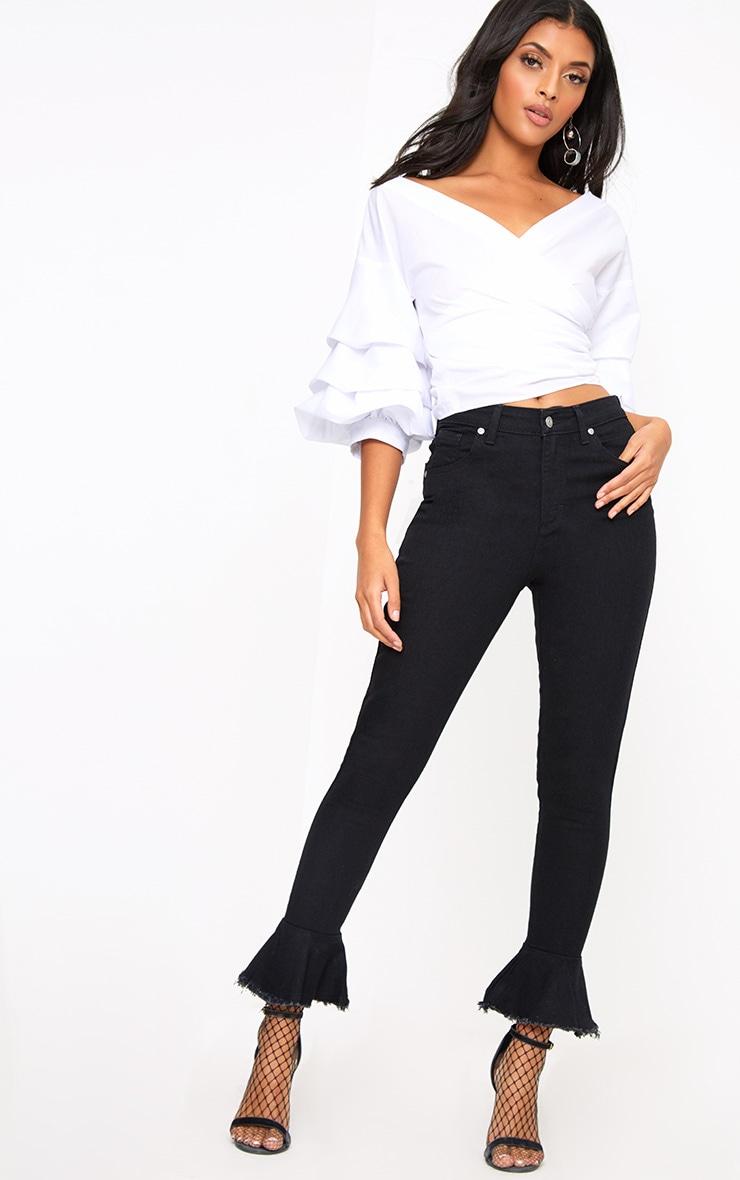 Tatjana Black Frill Hem Straight Leg Jean 1