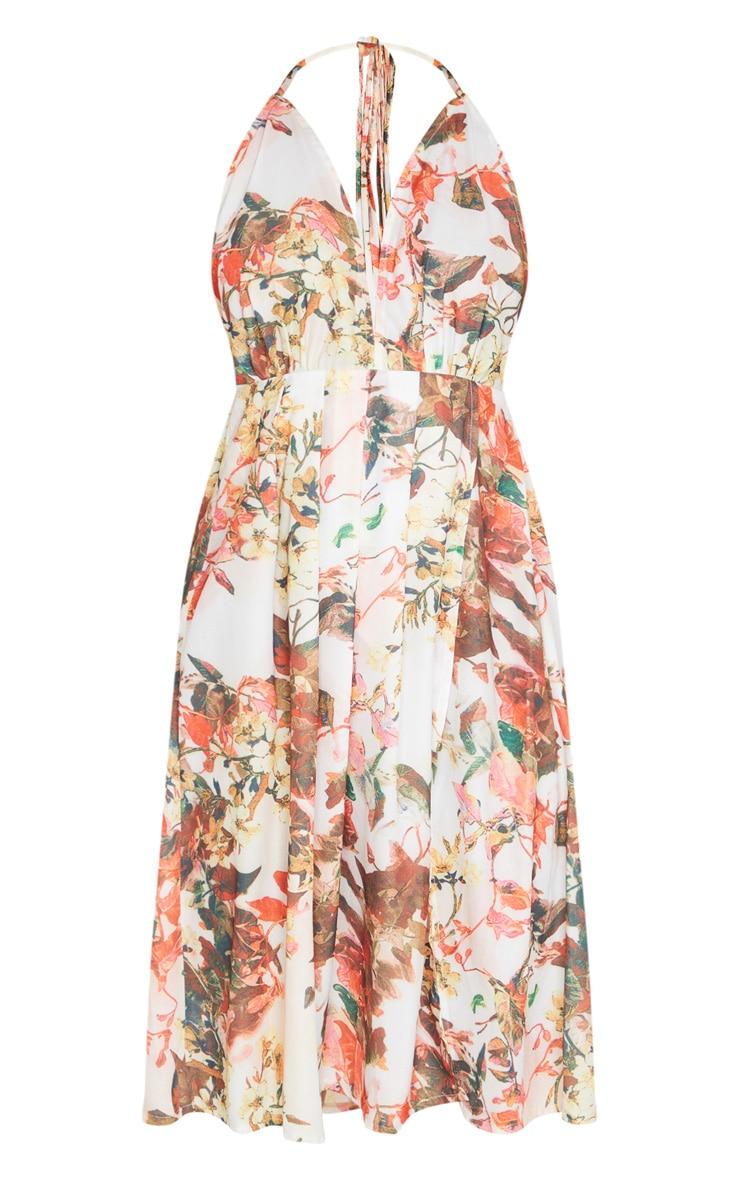 Multi Floral Print Strappy Back Halterneck Midi Dress 5