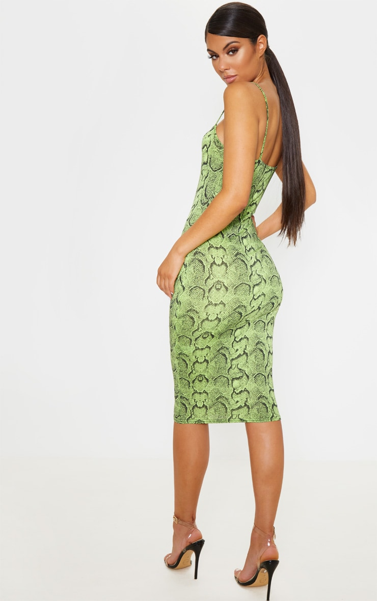Lime Snake Print Strappy Midi Dress 2