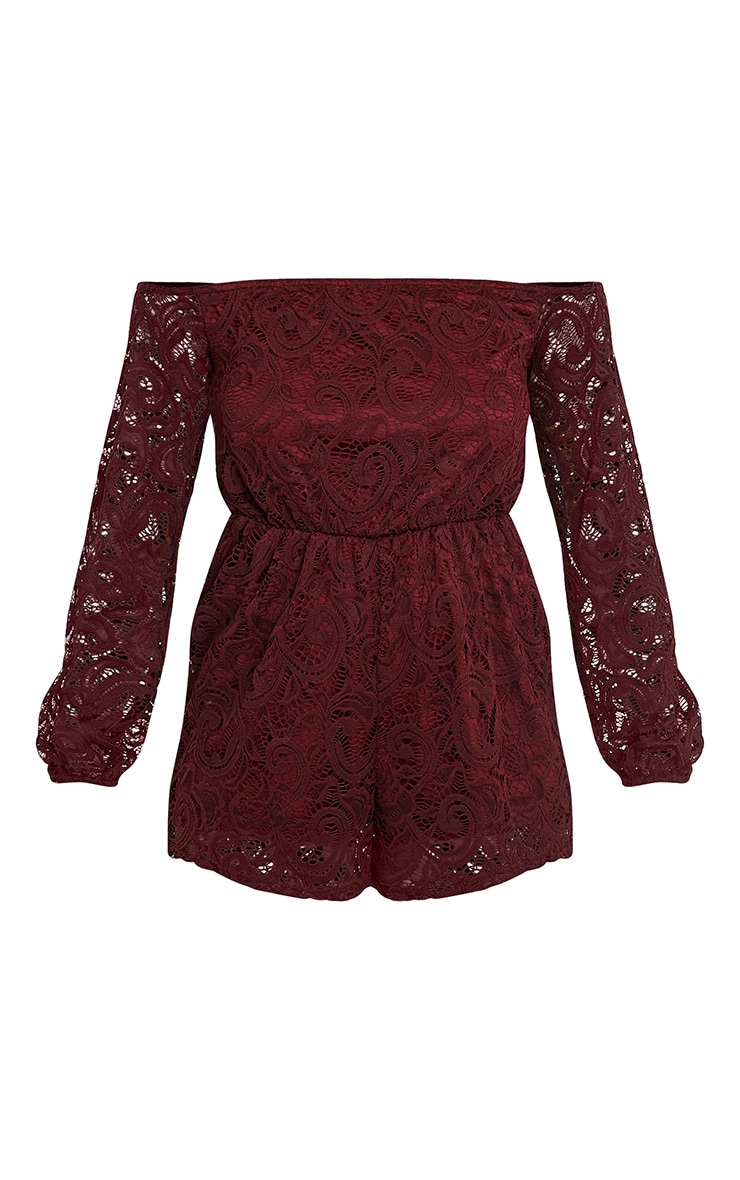 Ellora Burgundy Lace Bardot Long Sleeve Playsuit 3