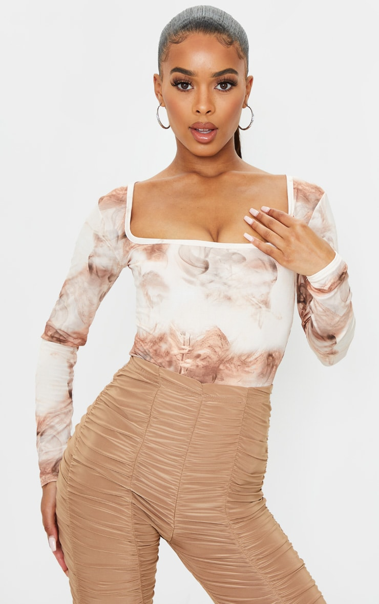 Nude Smoke Printed Soft Touch Square Neck Long Sleeve Bodysuit 1
