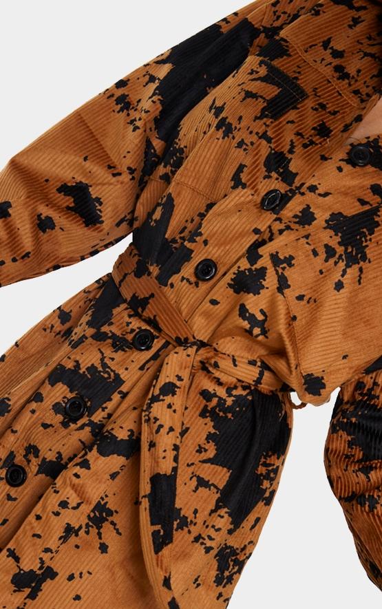 Tan Cord Belted Tie Dye Shirt Dress 4