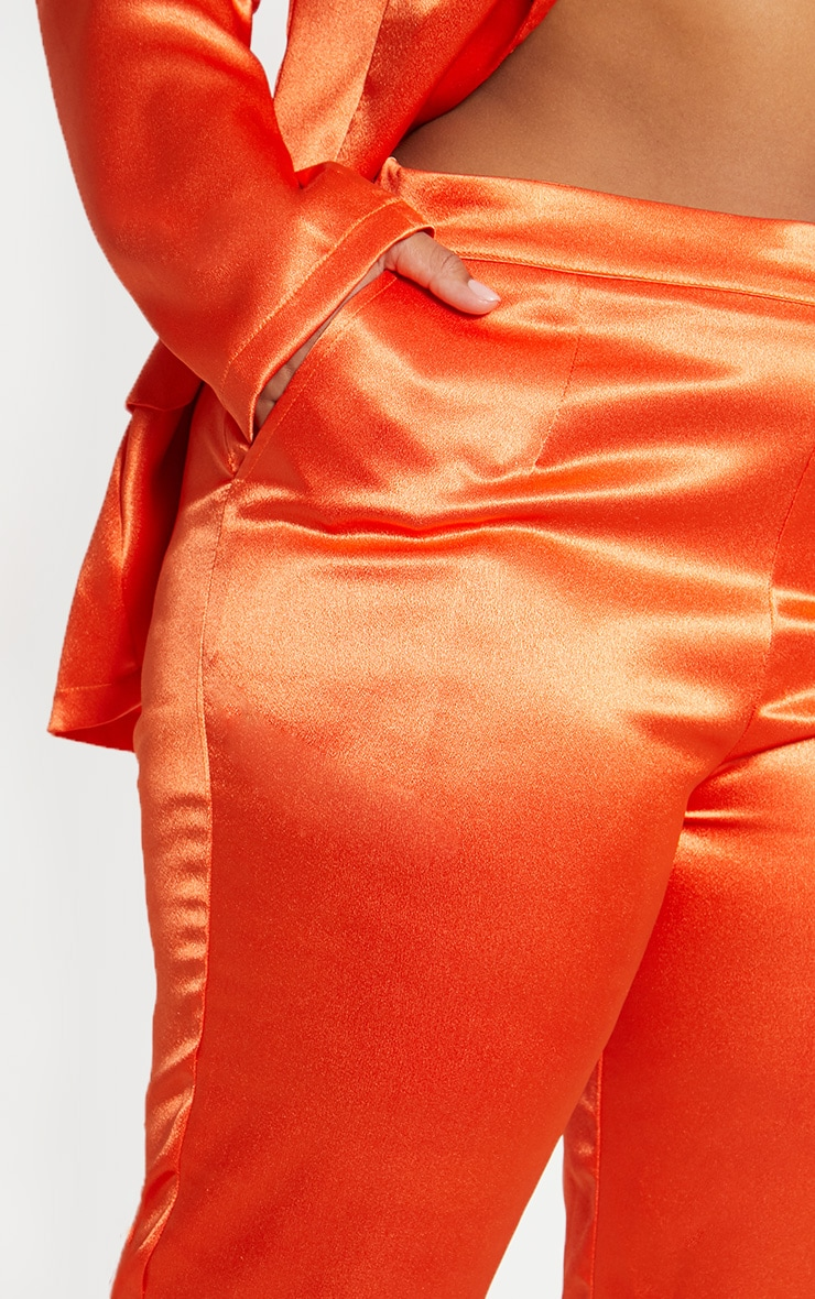 Plus Orange Satin Straight Leg Trouser  5