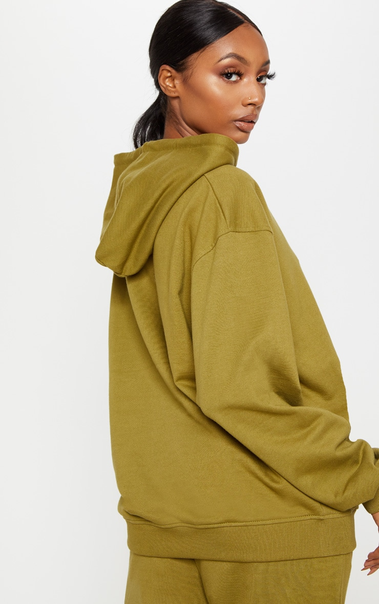 PRETTYLITTLETHING Khaki Embroidered Oversized Hoodie 2