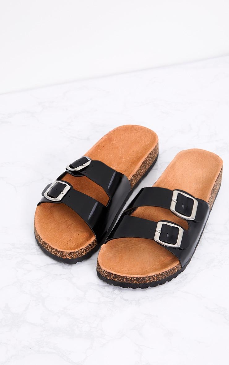Adena Black Metallic Double Strap Sandals 1