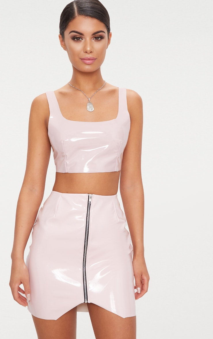 Pale Pink Zip Front Vinyl Mini Skirt 1