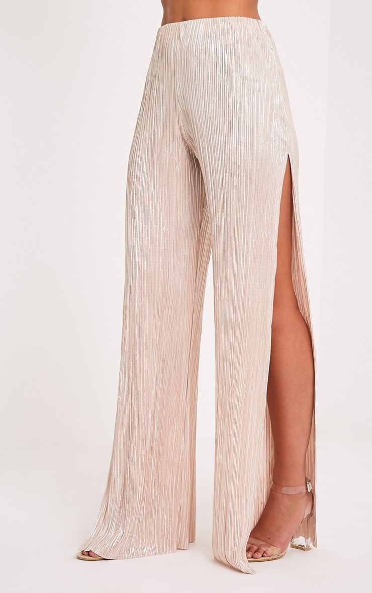 Dena Stone Metallic Pleated Side Split Trousers 4