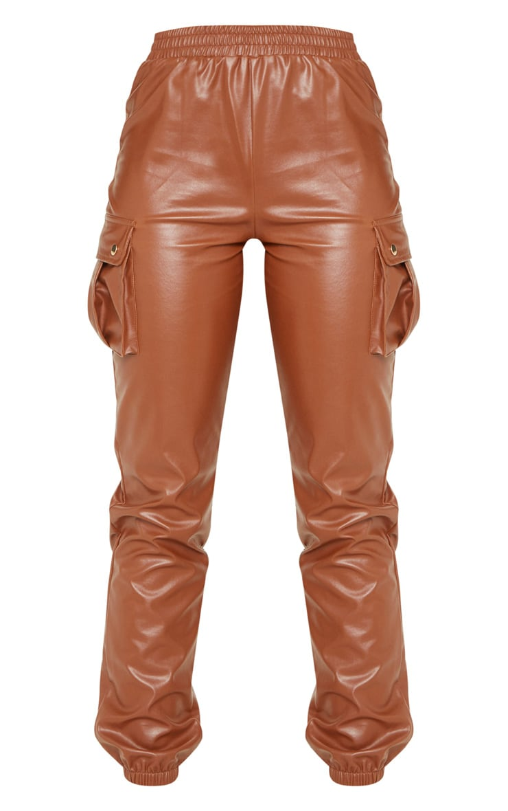 Tall Rust Faux Leather Pocket Detail Joggers  3