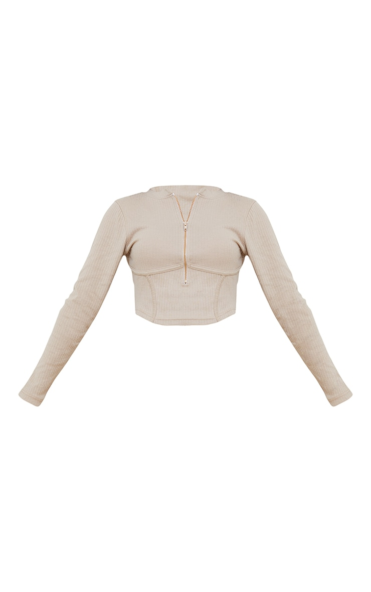 Petite Stone Under Bust Ribbed Long Sleeve Crop Top 5