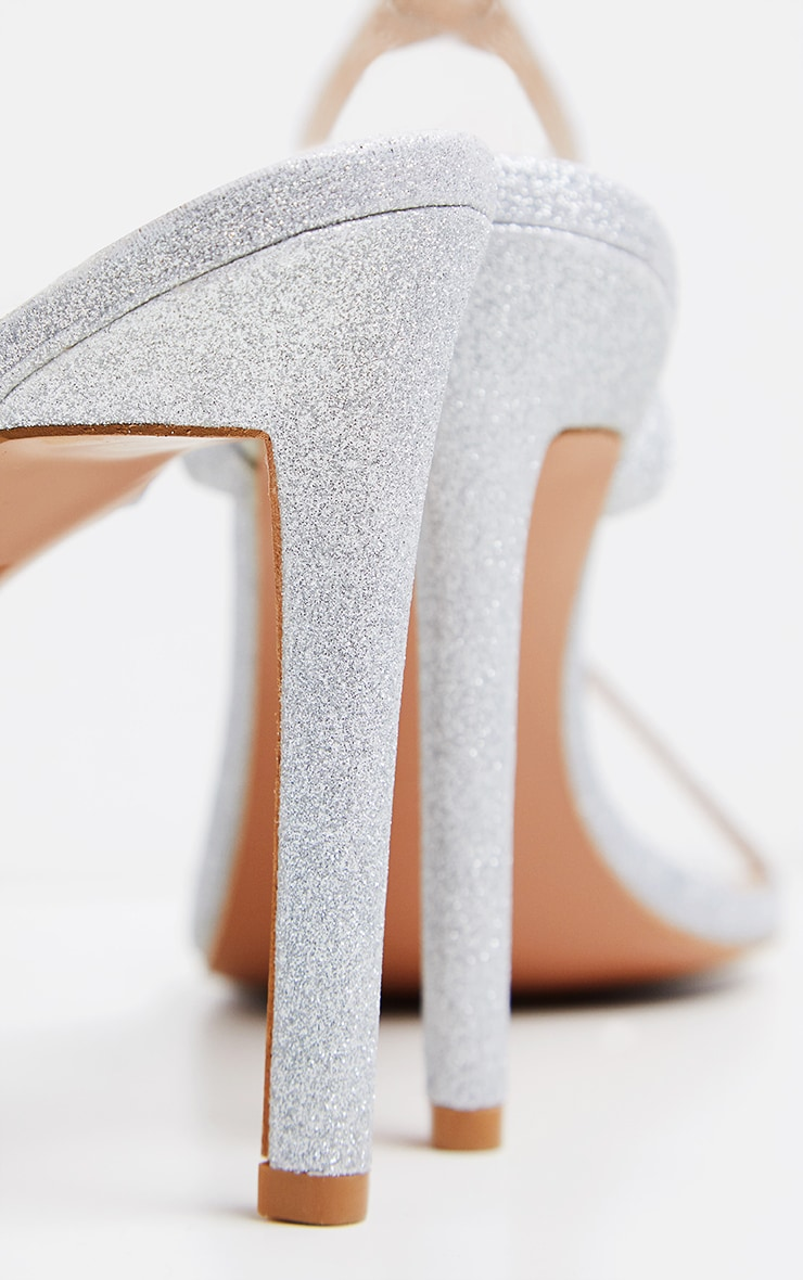 Silver Glitter Single Strap Sandal 4