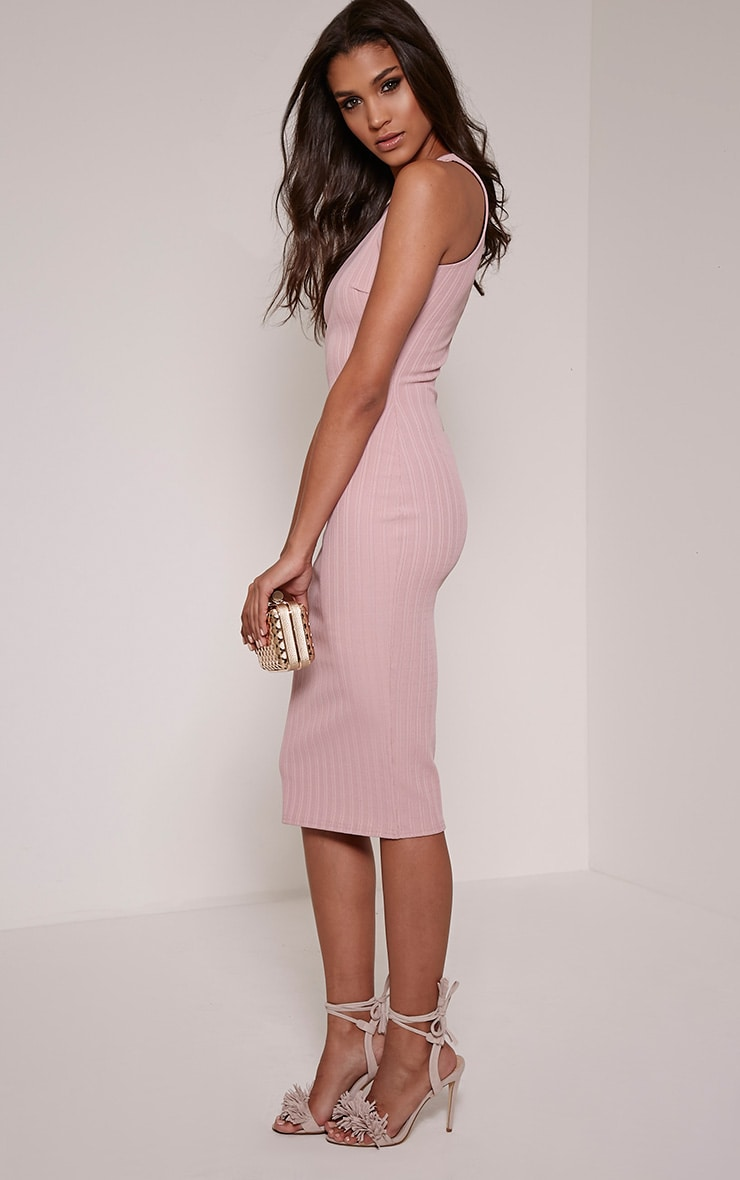 Jazmine Mauve Ribbed Midi Dress 3