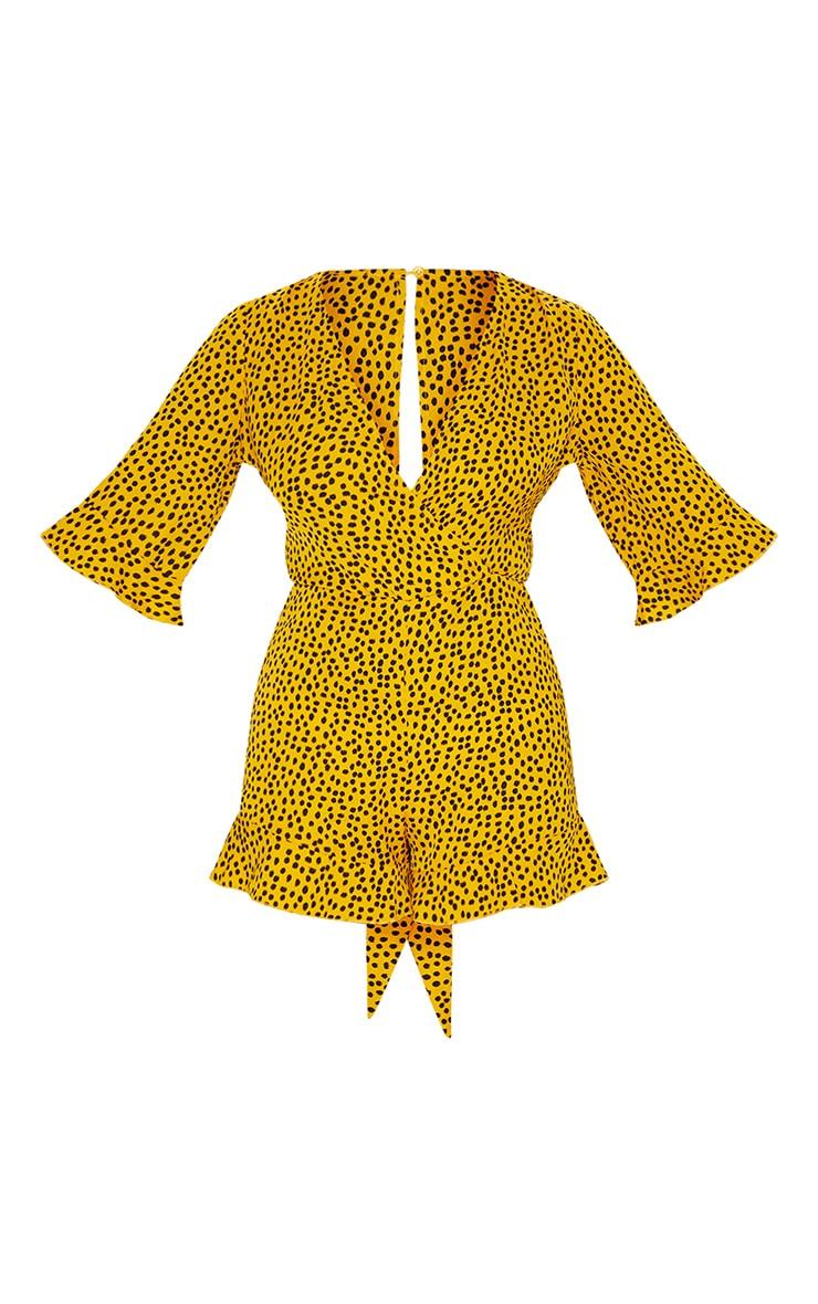 Mustard Dalmatian Chiffon Tie Waist Wrap Romper 5