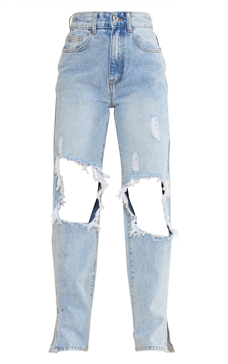 Petite Light Blue Ripped Knee Split Hem Denim Jeans 5