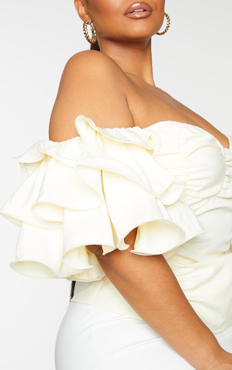 Plus Cream Ruffle Puff Sleeve Bardot Crop Top 4