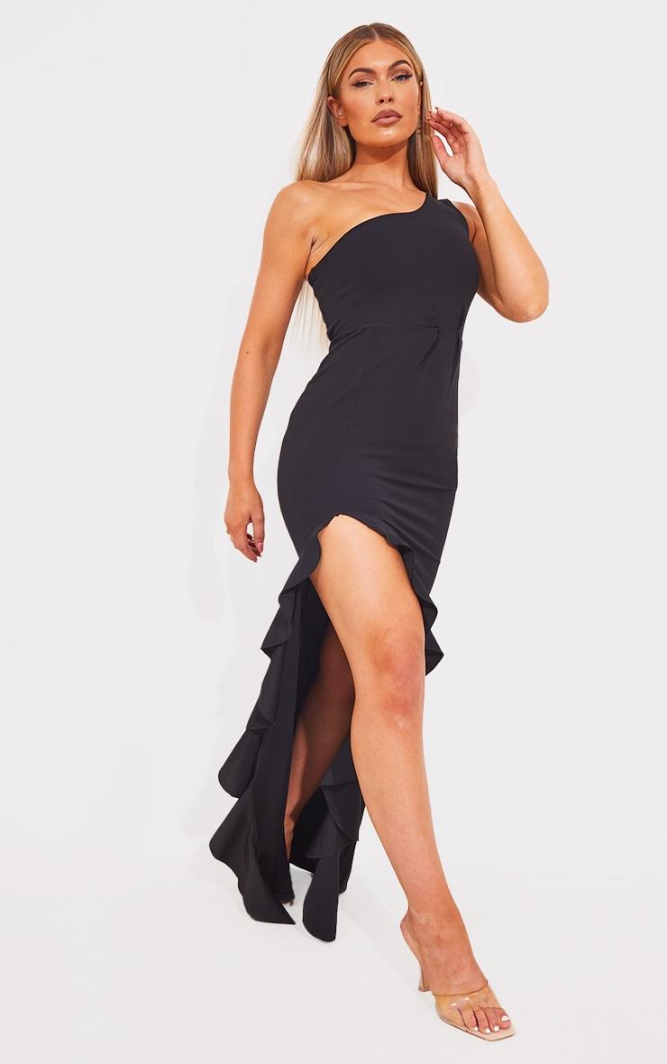 Black One Shoulder Ruffle Hem Maxi Dress 3