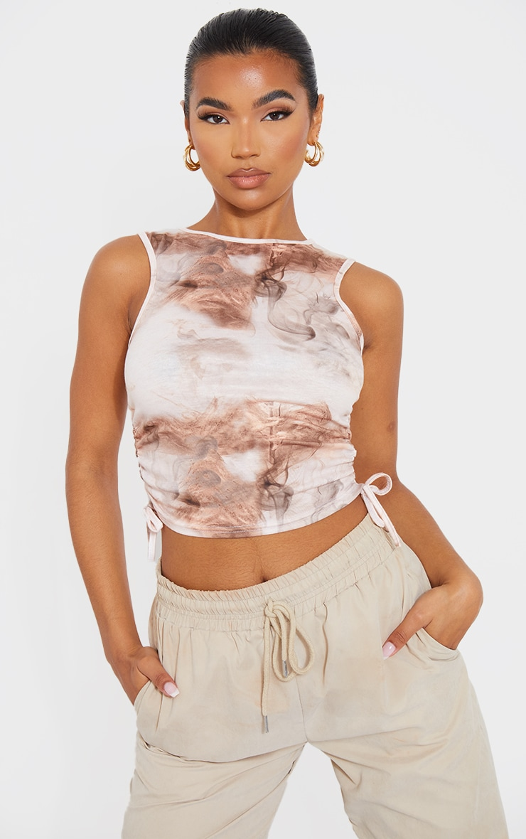 Beige Abstract Print Drawstring Side Racer Crop Top 1