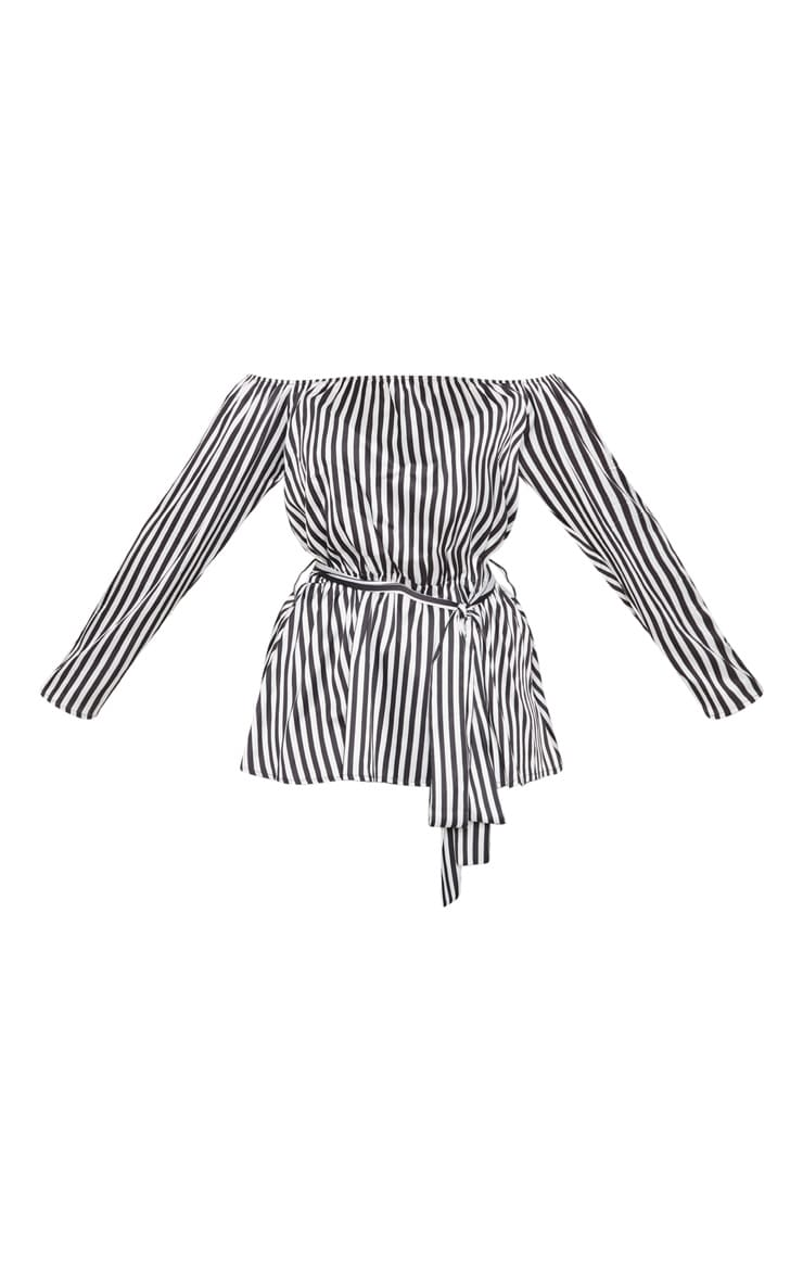Plus Black Striped Bardot Tie Waist Blouse  2