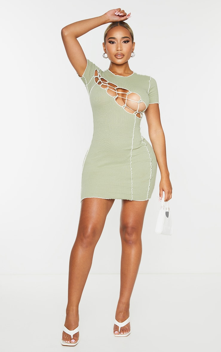 Shape Sage Green Thick Rib Contrast Stitch Rope Detail Bodycon Dress 3