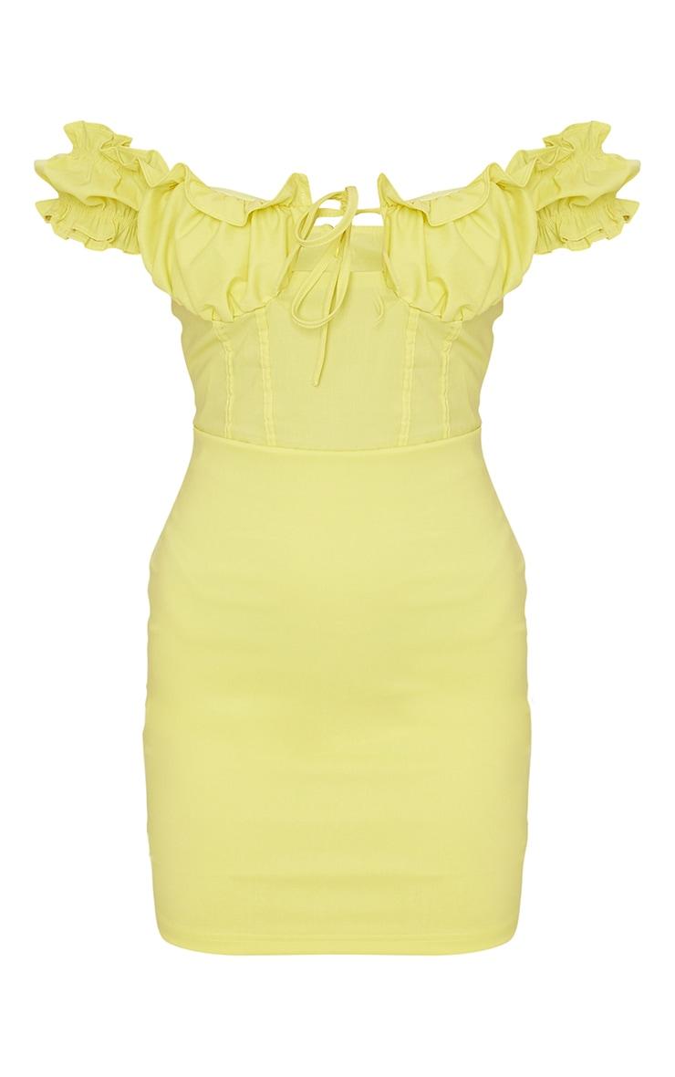 Lemon Bardot Frill Detail Bodycon Dress 5