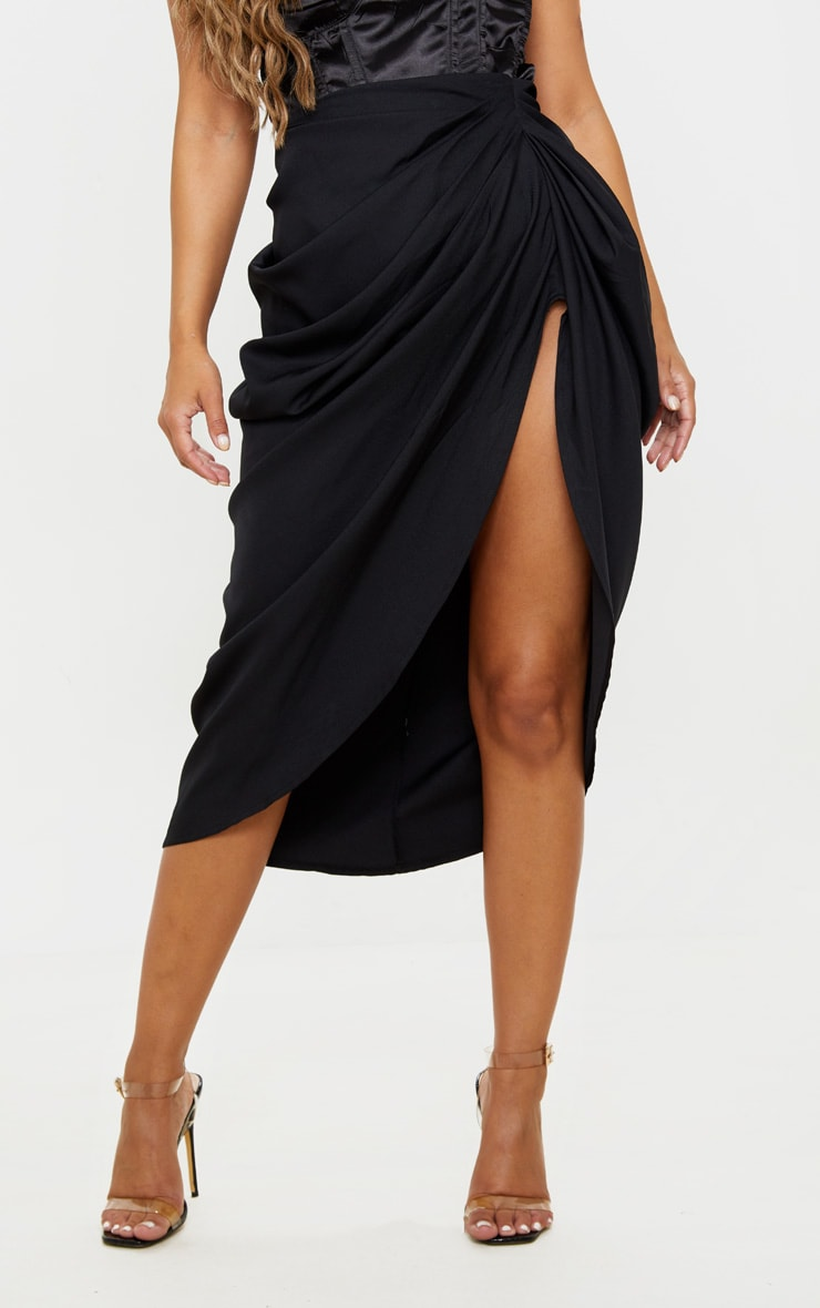 Petite Black Ruched Side Midi Skirt 2